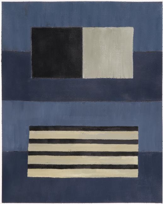 Georges Troubat - Compositionabstraite 08 - bleu noir beige 47
