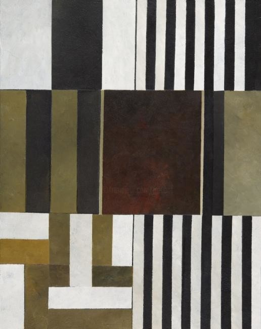 Georges Troubat - composition abstraite 08 - beige et rouge 92