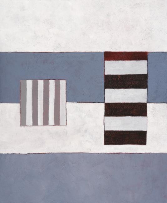 Georges Troubat - Composition abstraite 08 - bleu blanc noir 73