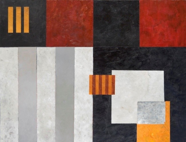 Georges Troubat - Composition abstraite rouge jaune et noir 116
