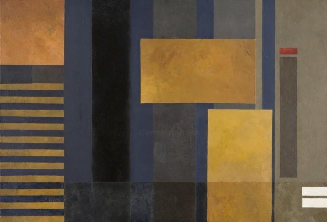 Georges Troubat - Composition abstraite jaune et bleu 130