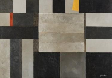 Composition abstraite gris jaune et rouge 116