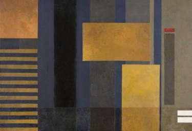Composition abstraite jaune et bleu 130