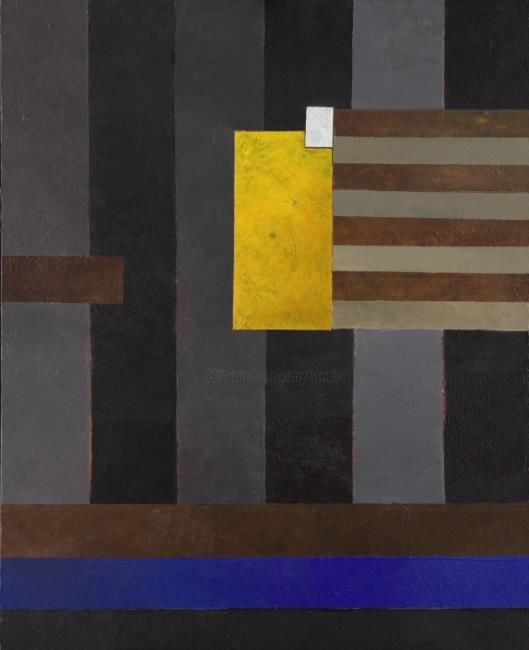 Georges Troubat - Composition abstraite 08 - jaune et bleu 100