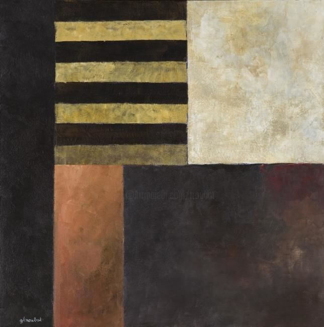 Georges Troubat - Composition abstraite 08 - ocre et brun 100