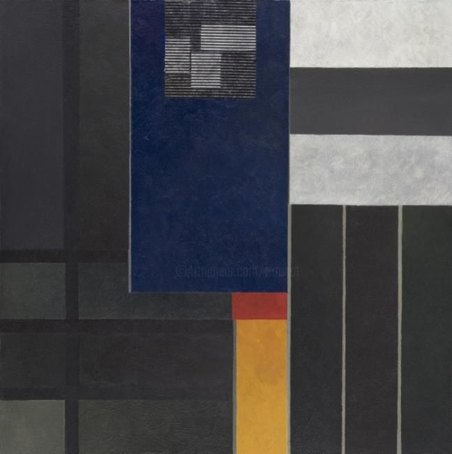 Georges Troubat - Composition abstraite 08 - gris et jaune 100