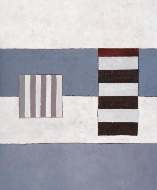 Georges Troubat - Composition abstraite 08 - bleu blanc noir 73