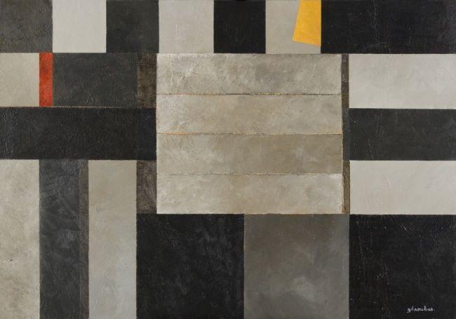Georges Troubat - Composition abstraite gris jaune et rouge 116