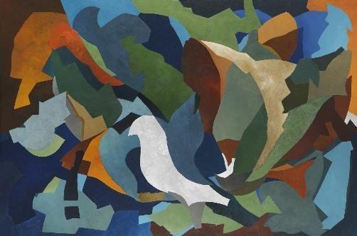 Terre des hommes, 165 x 130 cm peinture,  abstraction,