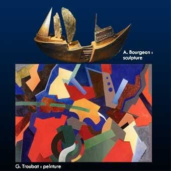 l'art prend la mer bateau abstrait Upper art couleur opposition acrylique collage centre france